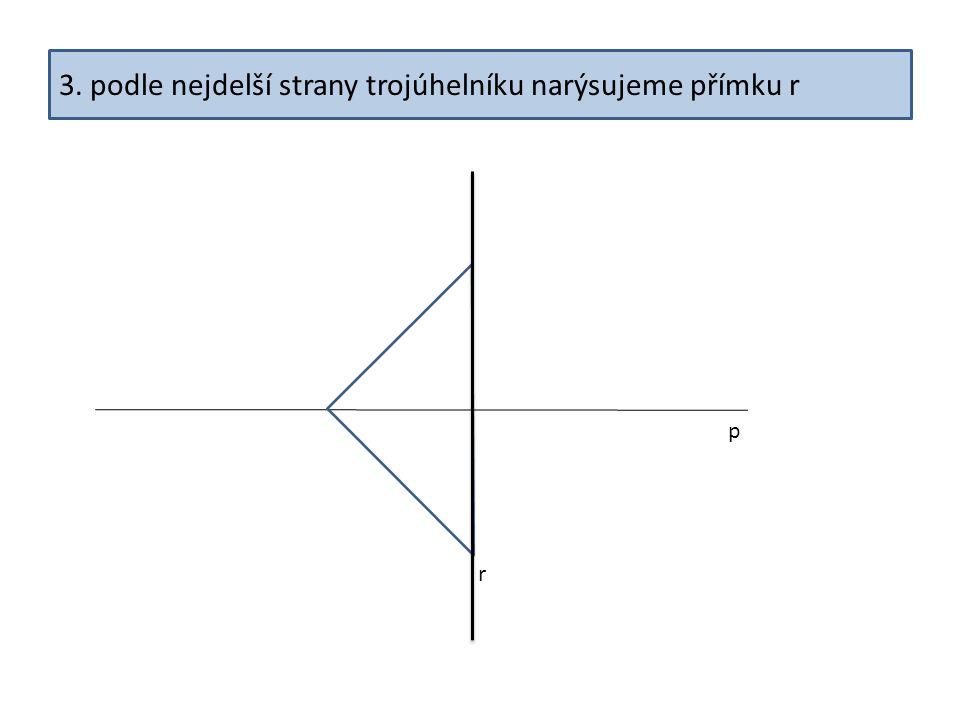 3. podle nejdelší strany trojúhelníku narýsujeme přímku r p r