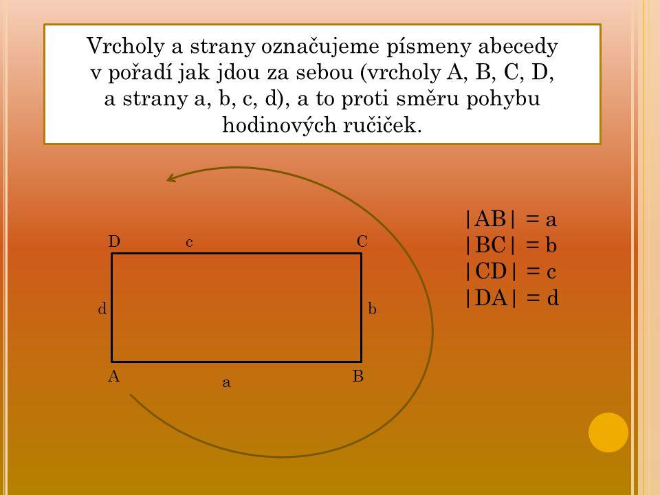 C B D A c bd a Vrcholy a strany označujeme písmeny abecedy v pořadí jak jdou za sebou (vrcholy A, B, C, D, a strany a, b, c, d), a to proti směru pohy