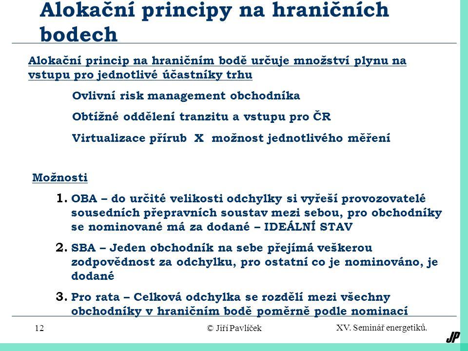 JP XV.Seminář energetiků. © Jiří Pavlíček12 Alokační principy na hraničních bodech Možnosti 1.