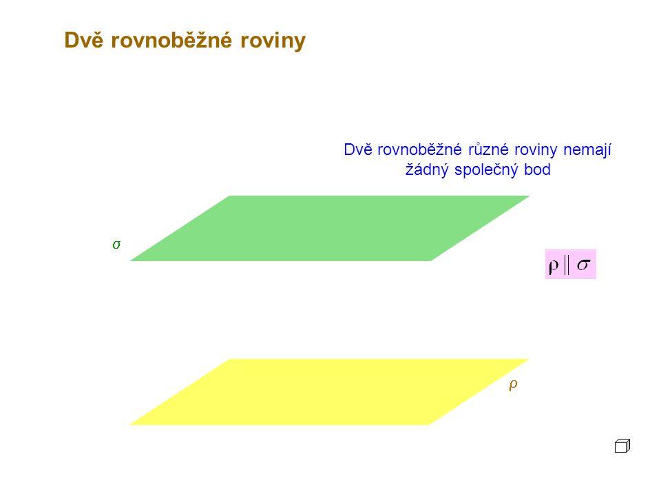 Dvě rovnoběžné roviny  Totožné rovnoběžné roviny mají všechny body společné