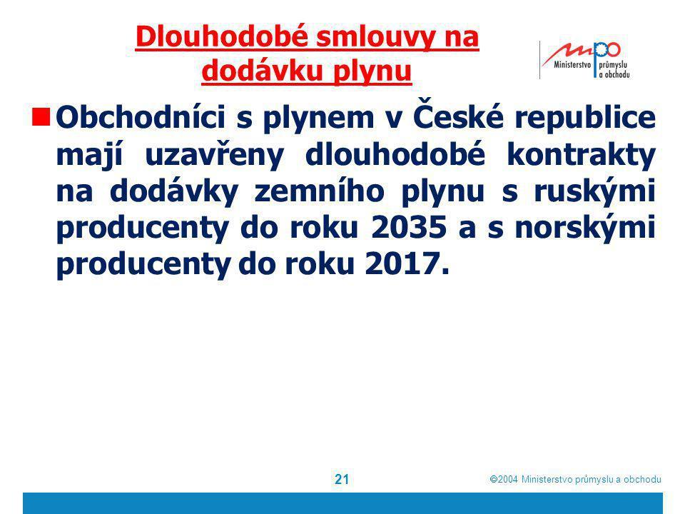  2004  Ministerstvo průmyslu a obchodu Dlouhodobé smlouvy na dodávku plynu Obchodníci s plynem v České republice mají uzavřeny dlouhodobé kontrakty