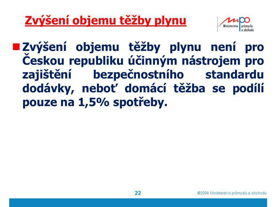  2004  Ministerstvo průmyslu a obchodu Zvýšení objemu těžby plynu Zvýšení objemu těžby plynu není pro Českou republiku účinným nástrojem pro zajišt