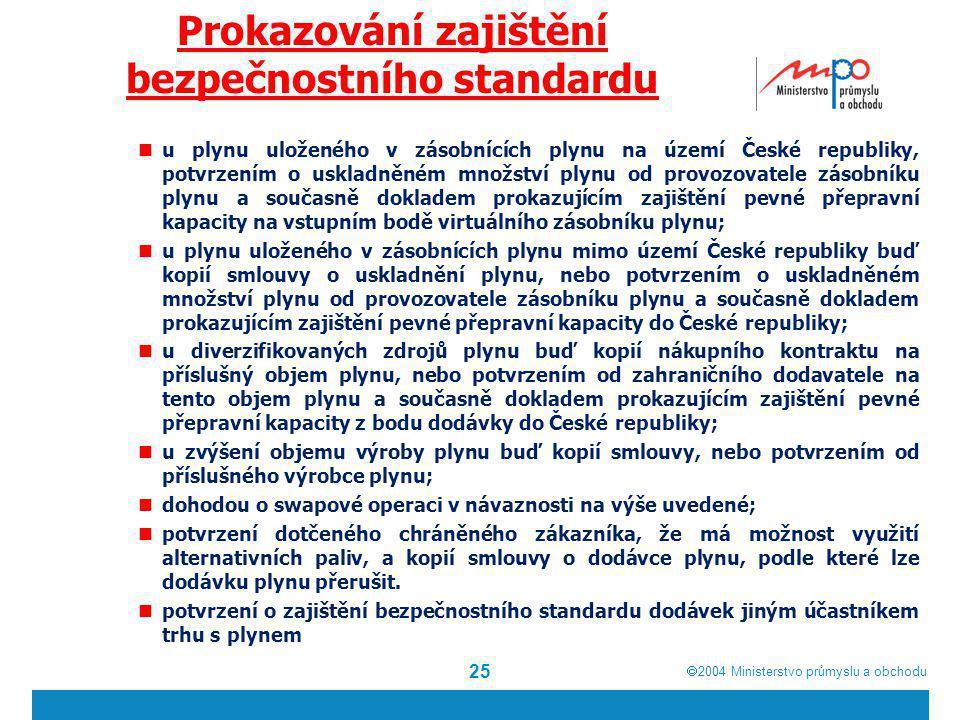  2004  Ministerstvo průmyslu a obchodu Prokazování zajištění bezpečnostního standardu u plynu uloženého v zásobnících plynu na území České republik