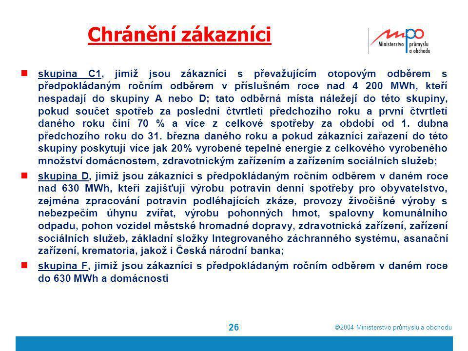  2004  Ministerstvo průmyslu a obchodu Chránění zákazníci skupina C1, jimiž jsou zákazníci s převažujícím otopovým odběrem s předpokládaným ročním