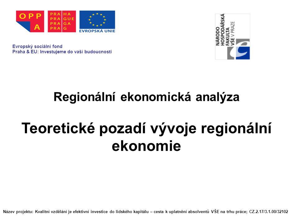 Regionální ekonomická analýza Teoretické pozadí vývoje regionální ekonomie Evropský sociální fond Praha & EU: Investujeme do vaší budoucnosti Název projektu: Kvalitní vzdělání je efektivní investice do lidského kapitálu – cesta k uplatnění absolventů VŠE na trhu práce; CZ.2.17/3.1.00/32102 Evropský sociální fond Praha & EU: Investujeme do vaší budoucnosti