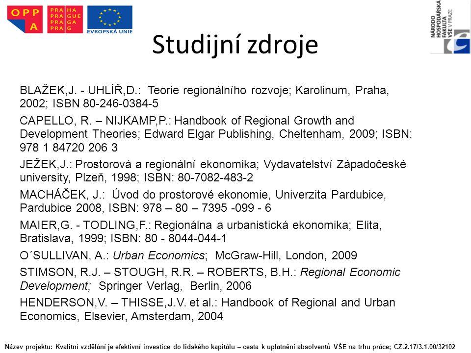 Studijní zdroje BLAŽEK,J.