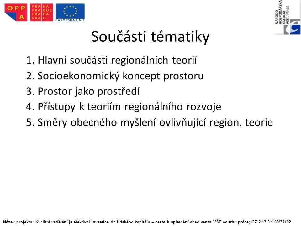 Součásti tématiky 1. Hlavní součásti regionálních teorií 2.