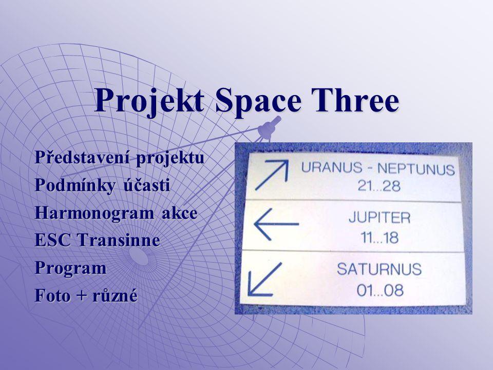 Projekt Space Three Představení projektu Podmínky účasti Harmonogram akce ESC Transinne Program Foto + různé