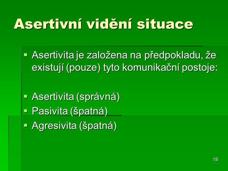 15 Asertivní vidění situace  Asertivita je založena na předpokladu, že existují (pouze) tyto komunikační postoje:  Asertivita (správná)  Pasivita (špatná)  Agresivita (špatná)