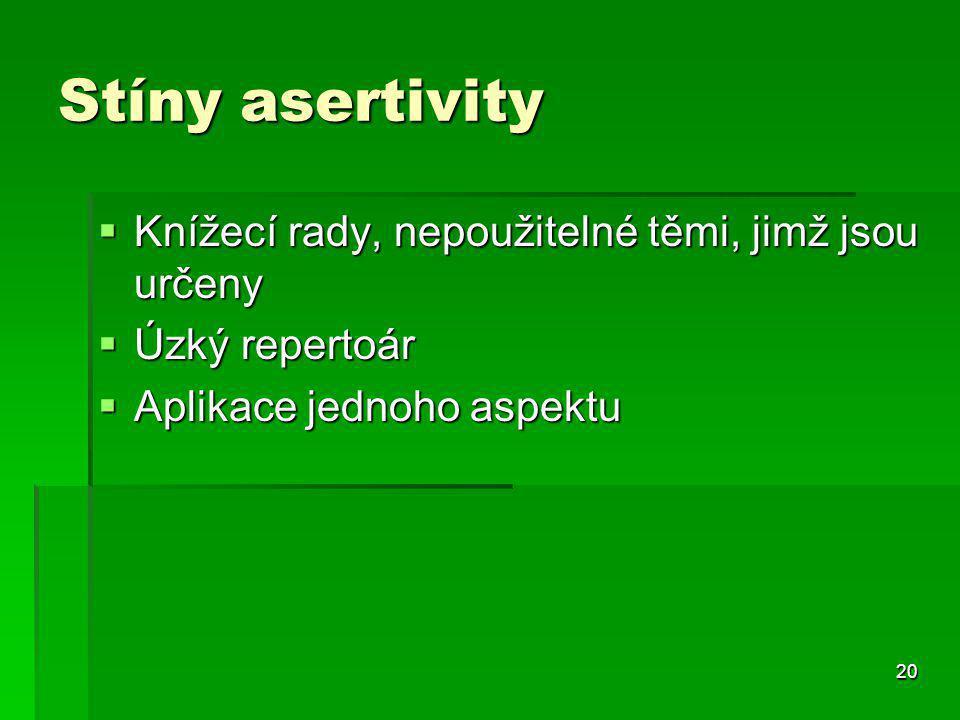 20 Stíny asertivity  Knížecí rady, nepoužitelné těmi, jimž jsou určeny  Úzký repertoár  Aplikace jednoho aspektu