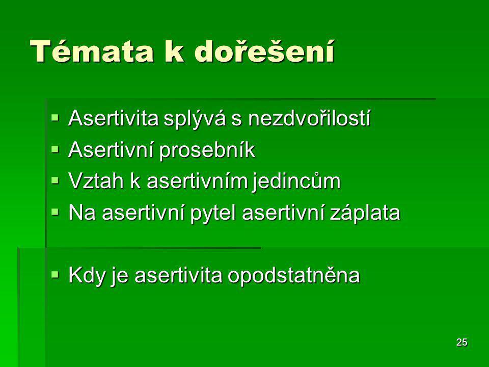 25 Témata k dořešení  Asertivita splývá s nezdvořilostí  Asertivní prosebník  Vztah k asertivním jedincům  Na asertivní pytel asertivní záplata  Kdy je asertivita opodstatněna