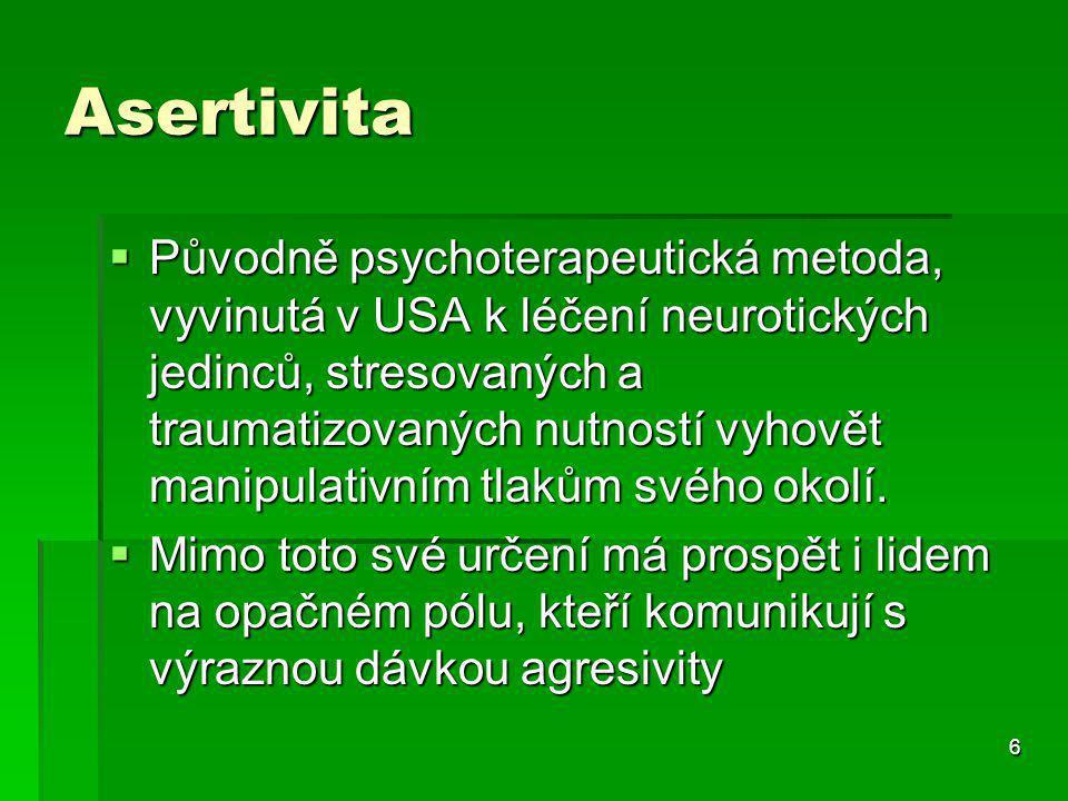 6 Asertivita  Původně psychoterapeutická metoda, vyvinutá v USA k léčení neurotických jedinců, stresovaných a traumatizovaných nutností vyhovět manipulativním tlakům svého okolí.