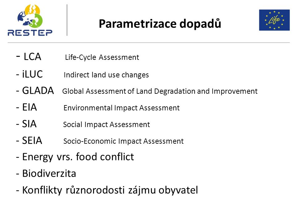 - LCA Life-Cycle Assessment - iLUC Indirect land use changes - GLADA Global Assessment of Land Degradation and Improvement - EIA Environmental Impact Assessment - SIA Social Impact Assessment - SEIA Socio-Economic Impact Assessment - Energy vrs.