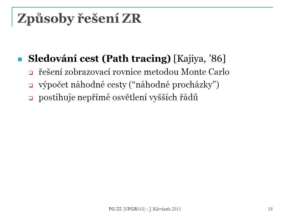 """Způsoby řešení ZR Sledování cest (Path tracing) [Kajiya, '86]  řešení zobrazovací rovnice metodou Monte Carlo  výpočet náhodné cesty (""""náhodné proch"""