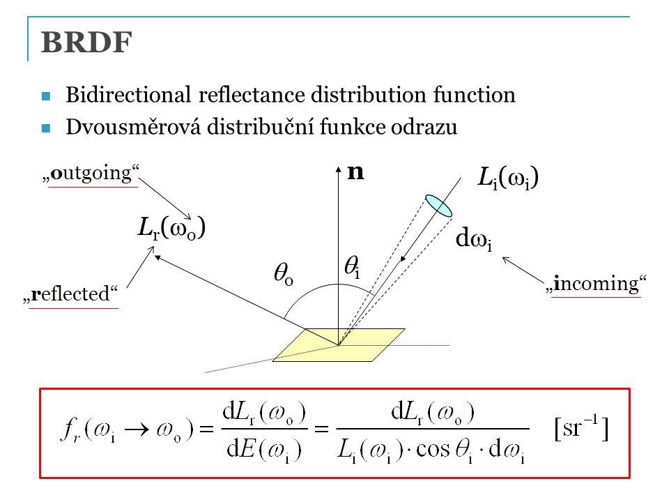 Rovnice odrazu Reflectance equation, illumination integral, OVTIGRE ( outgoing, vacuum, time-invariant, gray radiance equation ) Kolik světla je odraženo do směru  o ? (v závislosti na množství příchozího světla L i a materiálu povrchu f) Z definice BRDF