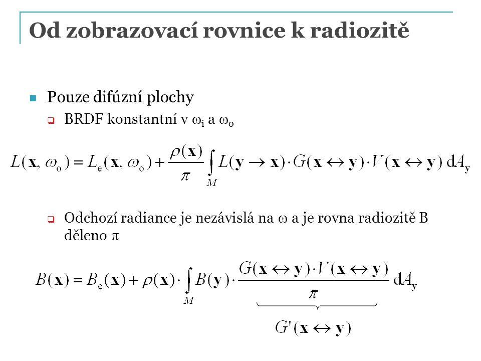 Od zobrazovací rovnice k radiozitě Pouze difúzní plochy  BRDF konstantní v  i a  o  Odchozí radiance je nezávislá na  a je rovna radiozitě B děleno 