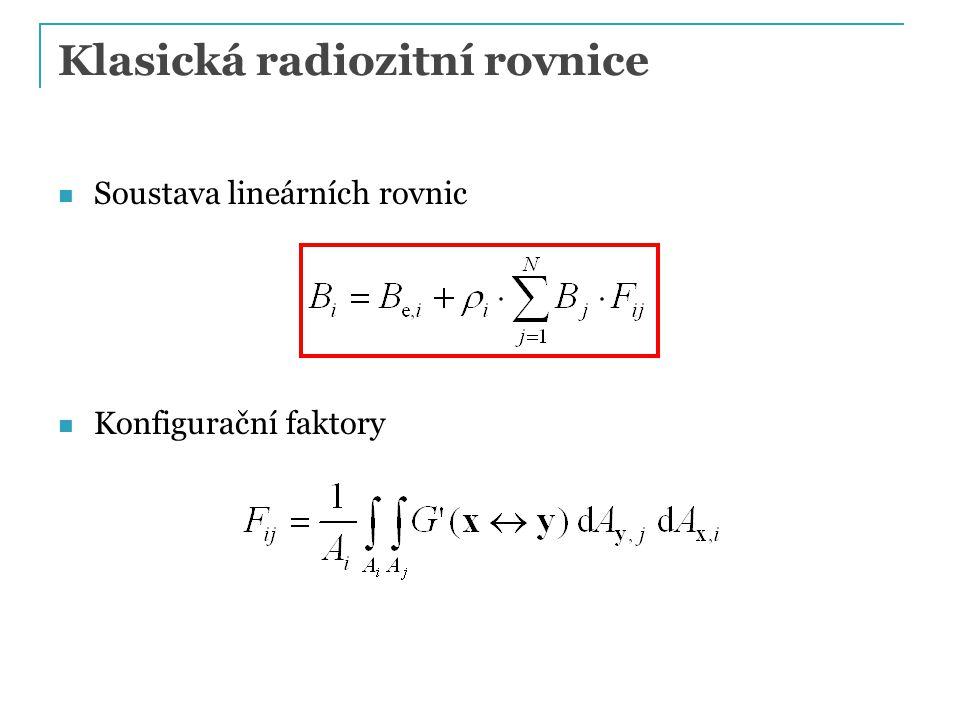 Klasická radiozitní rovnice Soustava lineárních rovnic Konfigurační faktory