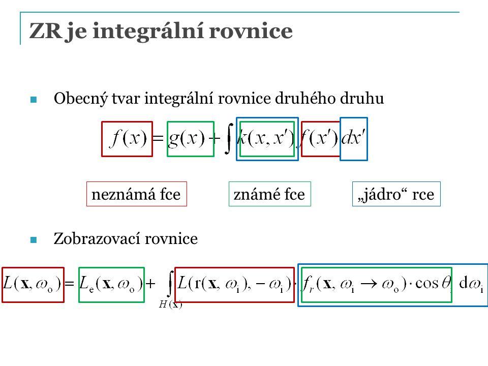 """ZR je integrální rovnice Obecný tvar integrální rovnice druhého druhu Zobrazovací rovnice neznámá fceznámé fce """"jádro"""" rce"""