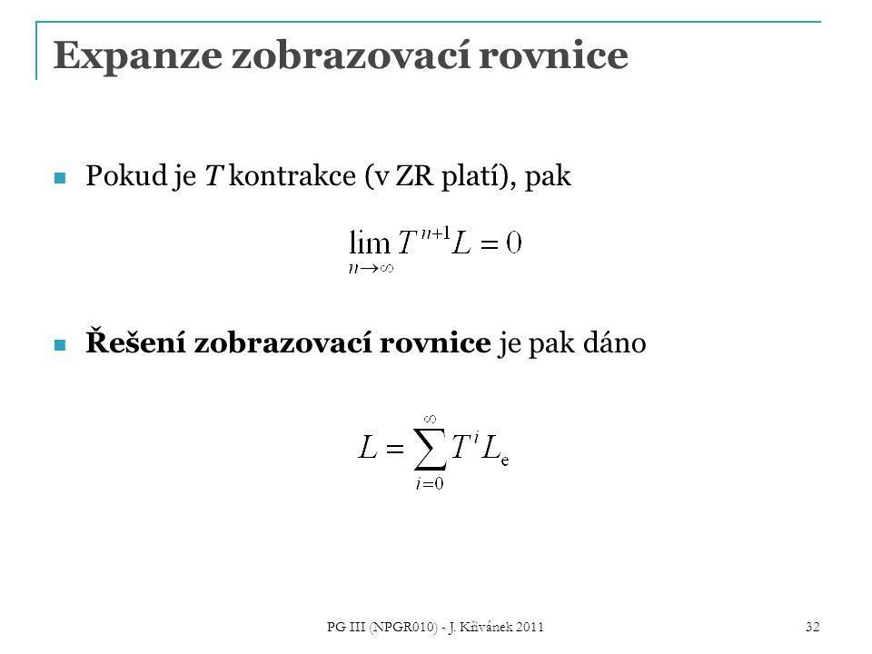 Expanze zobrazovací rovnice Pokud je T kontrakce (v ZR platí), pak Řešení zobrazovací rovnice je pak dáno PG III (NPGR010) - J. Křivánek 2011 32