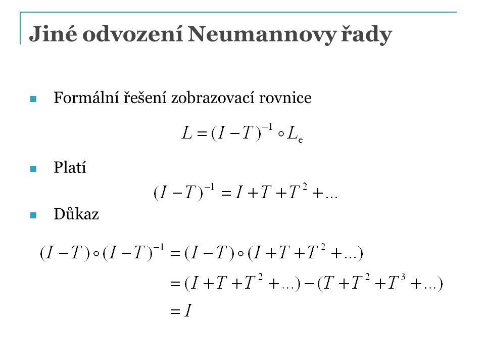 Jiné odvození Neumannovy řady Formální řešení zobrazovací rovnice Platí Důkaz