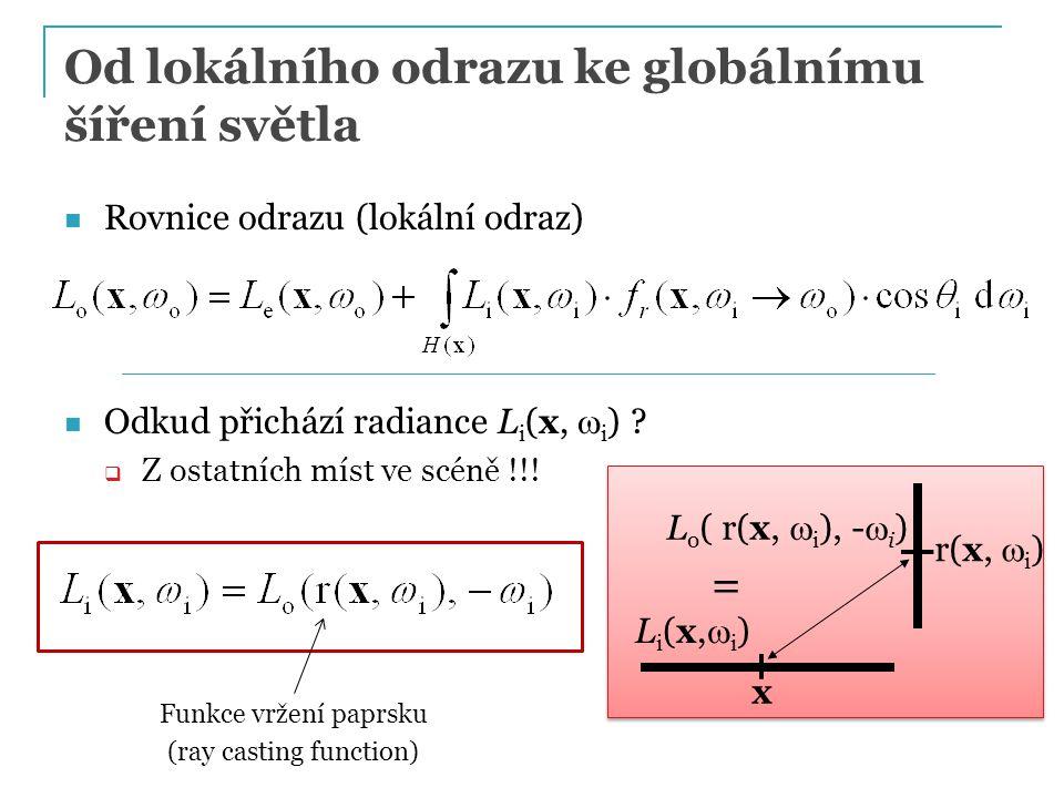Způsoby řešení zobrazovací rovnice Lokální osvětlení (OpenGL)  výpočet integrálu odrazu pro bodové zdroje světla  bodové zdroje: integrál -> suma  Neposkytuje ustálenou radianci, není řešením ZR Metoda konečných prvků (radiační metoda, radiozita), [Goral, '84]  diskretizace plochy scény (konečné prvky)  zanedbává směrovost odrazu  nezobrazuje lesklé odrazy světla PG III (NPGR010) - J.