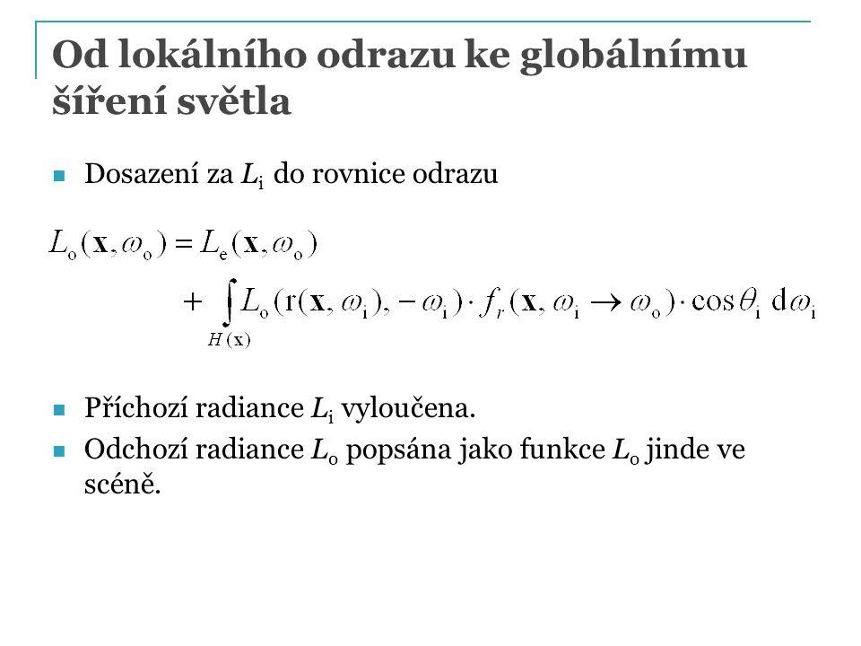 Od lokálního odrazu ke globálnímu šíření světla Dosazení za L i do rovnice odrazu Příchozí radiance L i vyloučena. Odchozí radiance L o popsána jako f