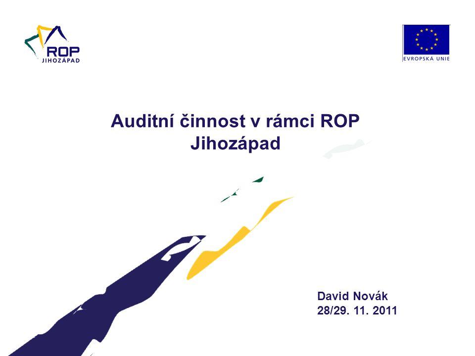 David Novák 28/29. 11. 2011 Auditní činnost v rámci ROP Jihozápad