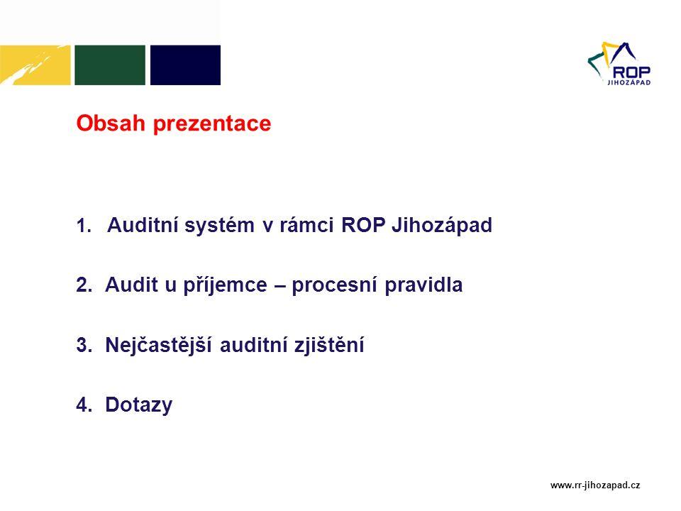 www.rr-jihozapad.cz Obsah prezentace 1. Auditní systém v rámci ROP Jihozápad 2.