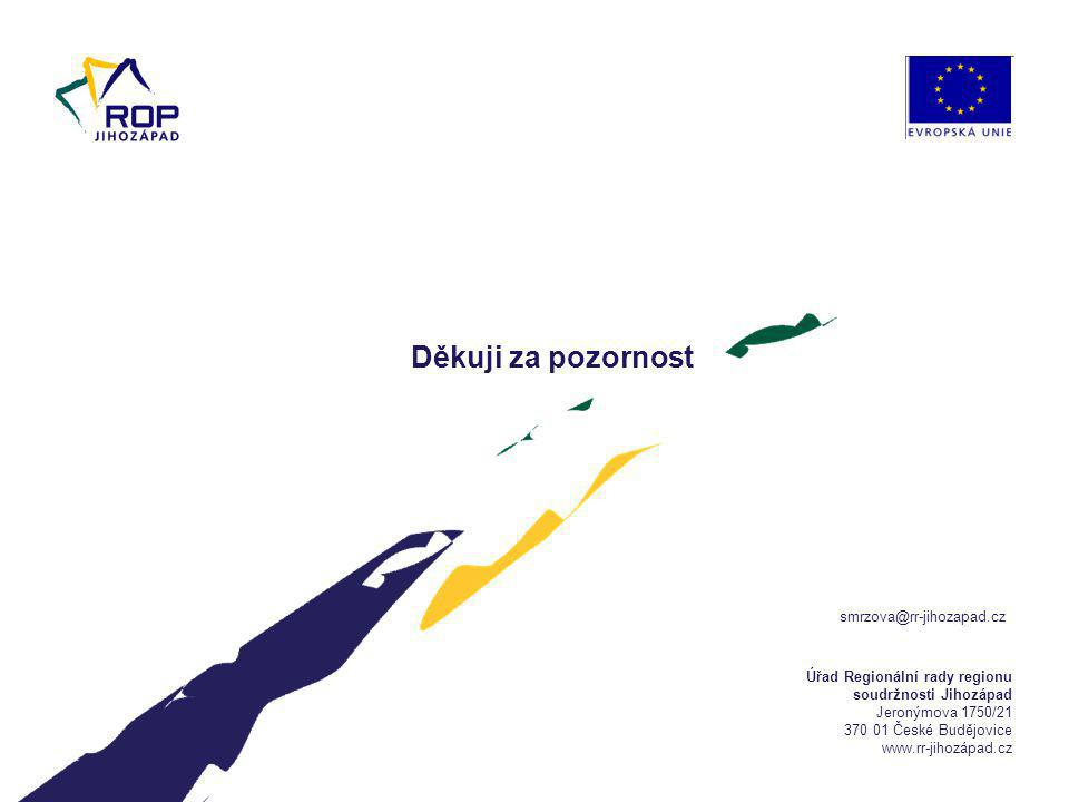 Úřad Regionální rady regionu soudržnosti Jihozápad Jeronýmova 1750/21 370 01 České Budějovice www.rr-jihozápad.cz Děkuji za pozornost smrzova@rr-jihozapad.cz