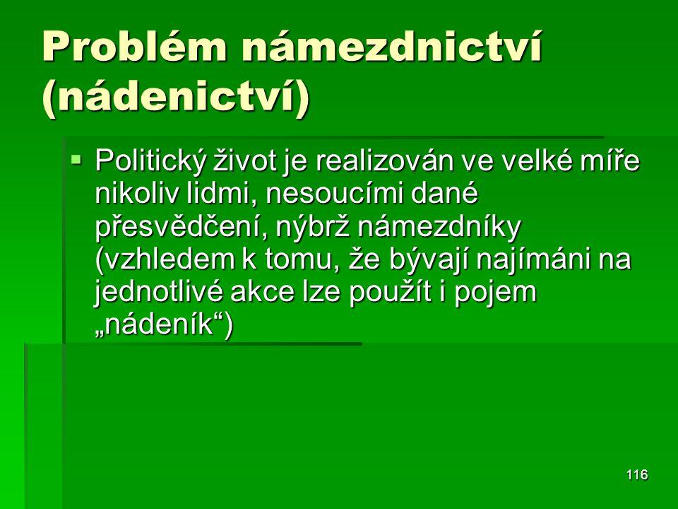 116 Problém námezdnictví (nádenictví)  Politický život je realizován ve velké míře nikoliv lidmi, nesoucími dané přesvědčení, nýbrž námezdníky (vzhle