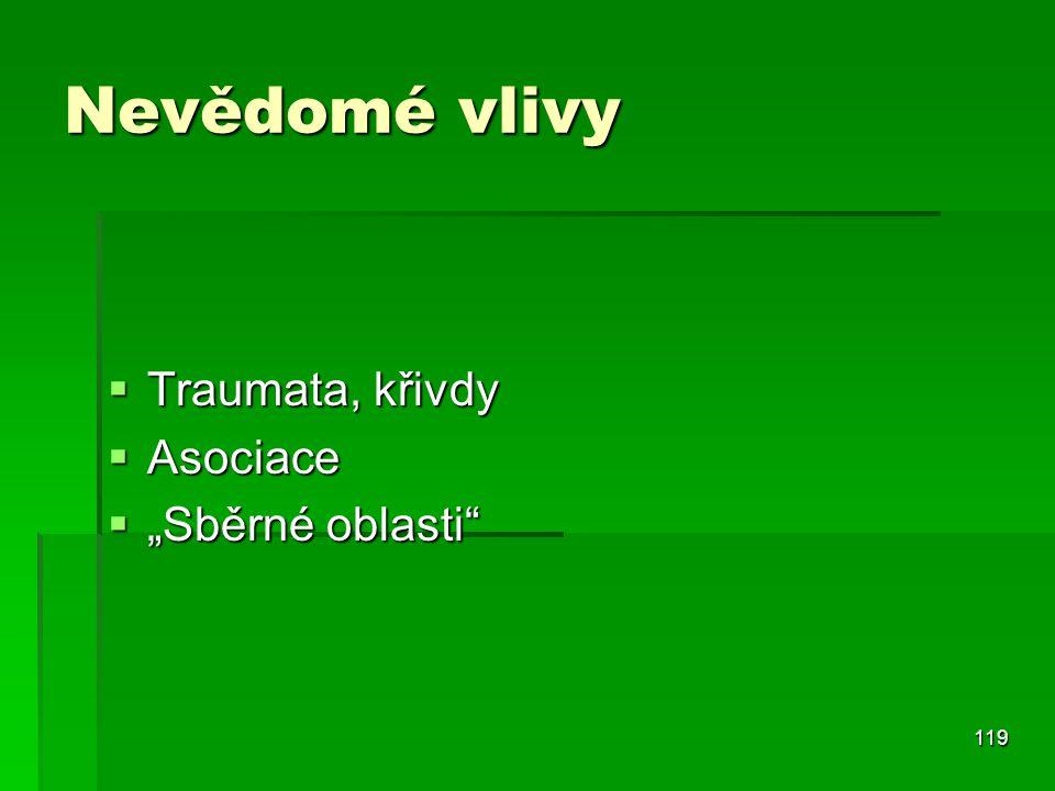 """119 Nevědomé vlivy  Traumata, křivdy  Asociace  """"Sběrné oblasti"""""""