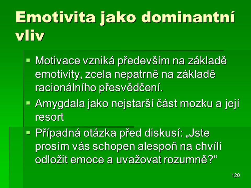 120 Emotivita jako dominantní vliv  Motivace vzniká především na základě emotivity, zcela nepatrně na základě racionálního přesvědčení.  Amygdala ja
