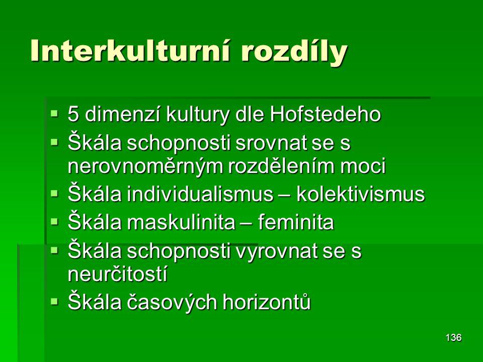 136 Interkulturní rozdíly  5 dimenzí kultury dle Hofstedeho  Škála schopnosti srovnat se s nerovnoměrným rozdělením moci  Škála individualismus – k