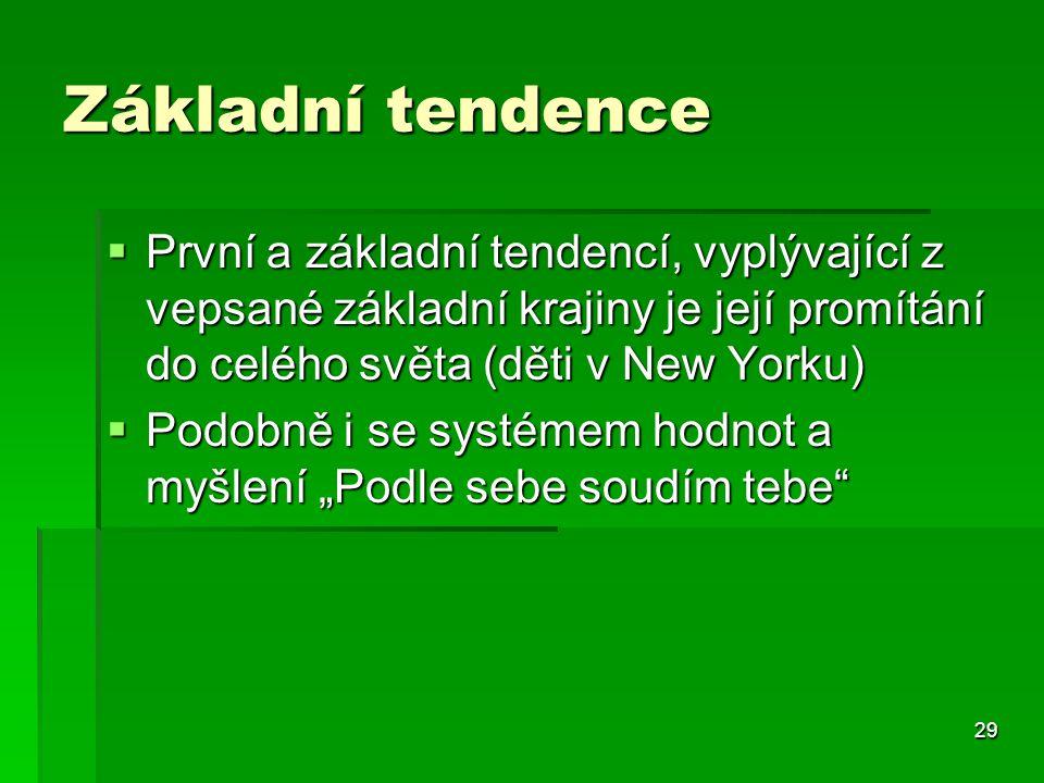 29 Základní tendence  První a základní tendencí, vyplývající z vepsané základní krajiny je její promítání do celého světa (děti v New Yorku)  Podobn