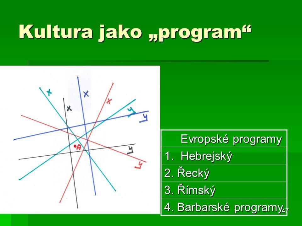 """47 Kultura jako """"program"""" Evropské programy Evropské programy 1. Hebrejský 2. Řecký 3. Římský 4. Barbarské programy"""