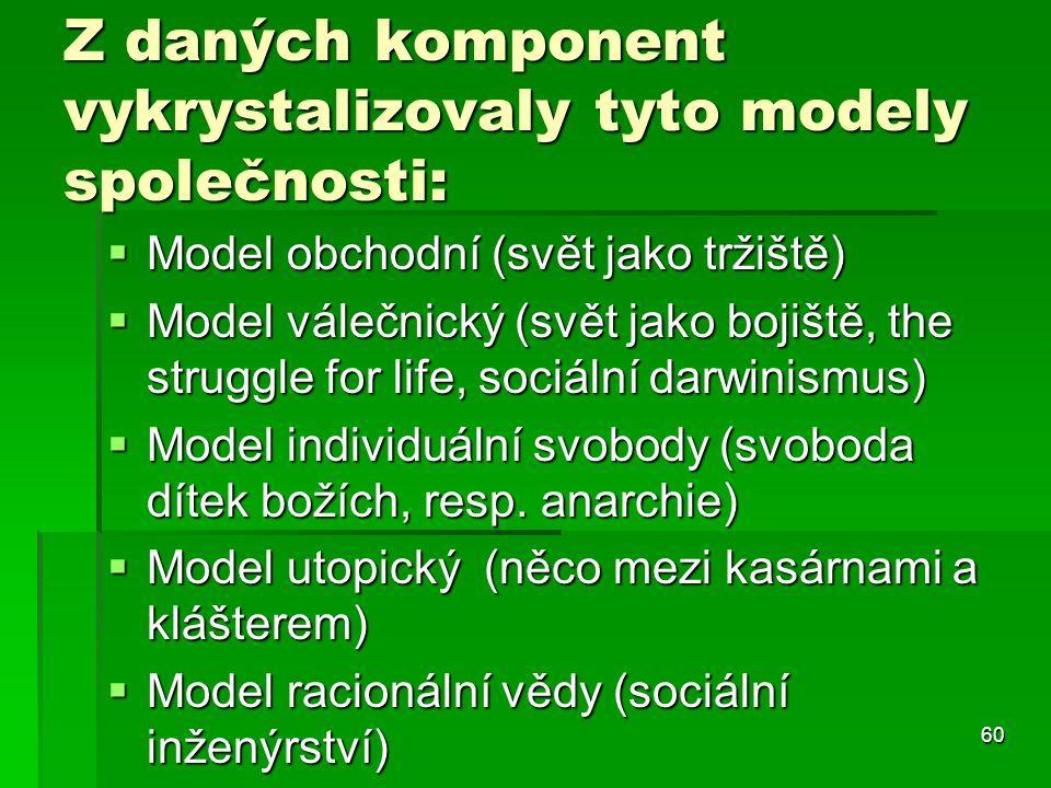60 Z daných komponent vykrystalizovaly tyto modely společnosti:  Model obchodní (svět jako tržiště)  Model válečnický (svět jako bojiště, the strugg