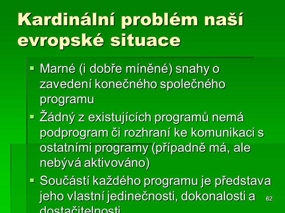 62 Kardinální problém naší evropské situace  Marné (i dobře míněné) snahy o zavedení konečného společného programu  Žádný z existujících programů ne