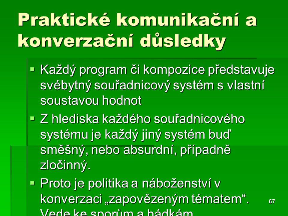 67 Praktické komunikační a konverzační důsledky  Každý program či kompozice představuje svébytný souřadnicový systém s vlastní soustavou hodnot  Z h