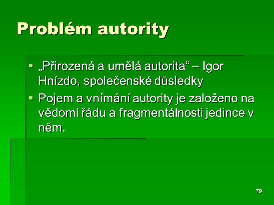 """79 Problém autority  """"Přirozená a umělá autorita"""" – Igor Hnízdo, společenské důsledky  Pojem a vnímání autority je založeno na vědomí řádu a fragmen"""