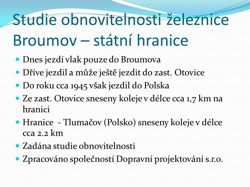 Studie obnovitelnosti železnice Broumov – státní hranice Dnes jezdí vlak pouze do Broumova Dříve jezdil a může ještě jezdit do zast.