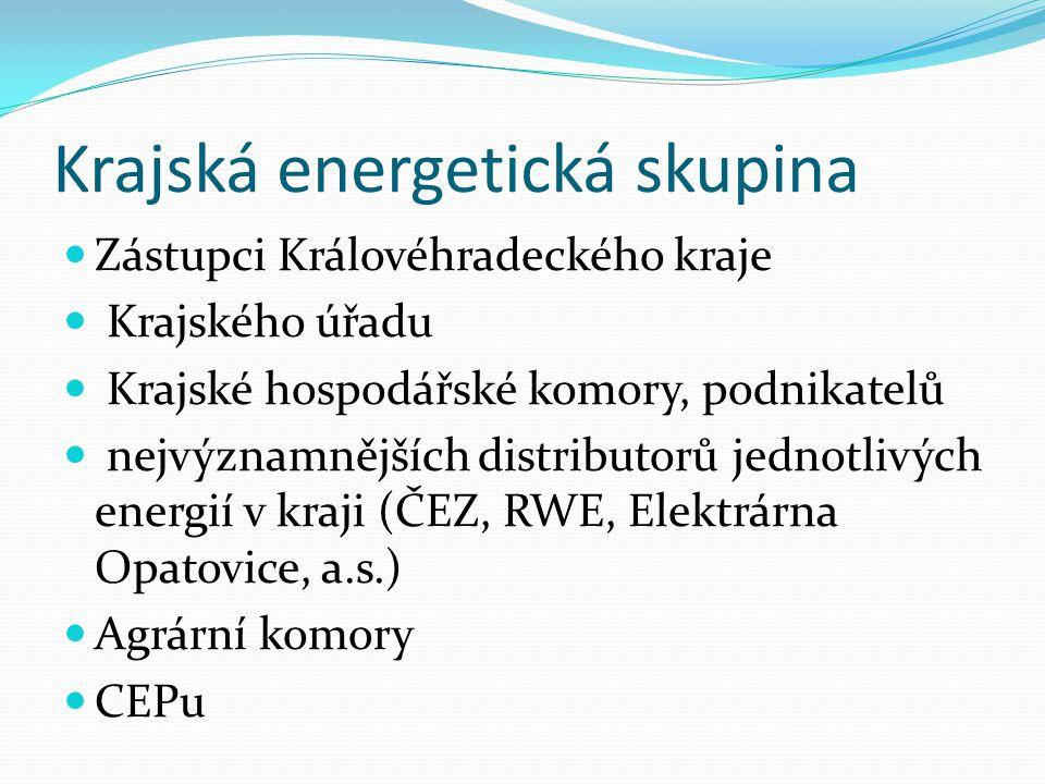 Krajská energetická skupina Zástupci Královéhradeckého kraje Krajského úřadu Krajské hospodářské komory, podnikatelů nejvýznamnějších distributorů jednotlivých energií v kraji (ČEZ, RWE, Elektrárna Opatovice, a.s.) Agrární komory CEPu