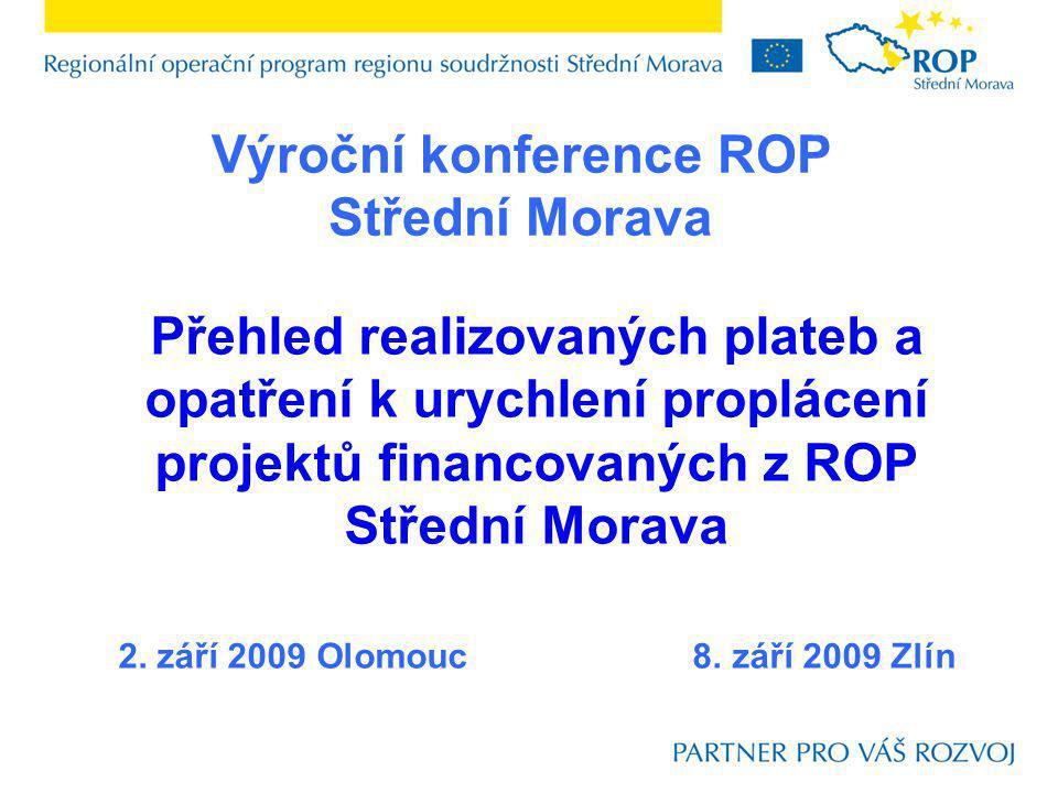 Přehled realizovaných plateb a opatření k urychlení proplácení projektů financovaných z ROP Střední Morava 2. září 2009 Olomouc 8. září 2009 Zlín Výro