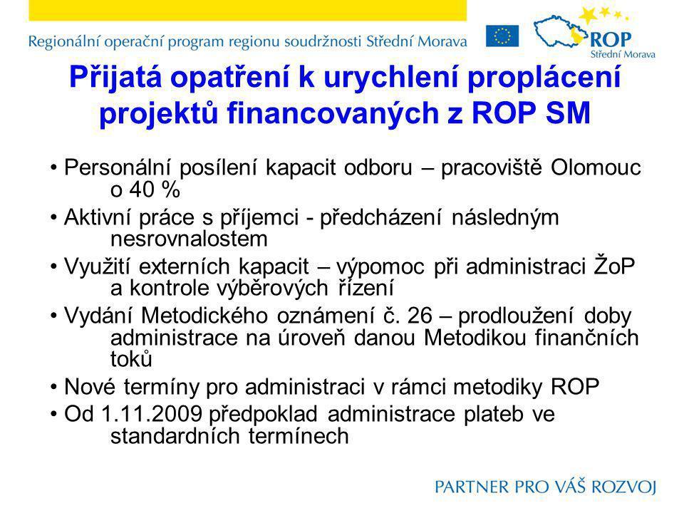 Přijatá opatření k urychlení proplácení projektů financovaných z ROP SM Personální posílení kapacit odboru – pracoviště Olomouc o 40 % Aktivní práce s příjemci - předcházení následným nesrovnalostem Využití externích kapacit – výpomoc při administraci ŽoP a kontrole výběrových řízení Vydání Metodického oznámení č.