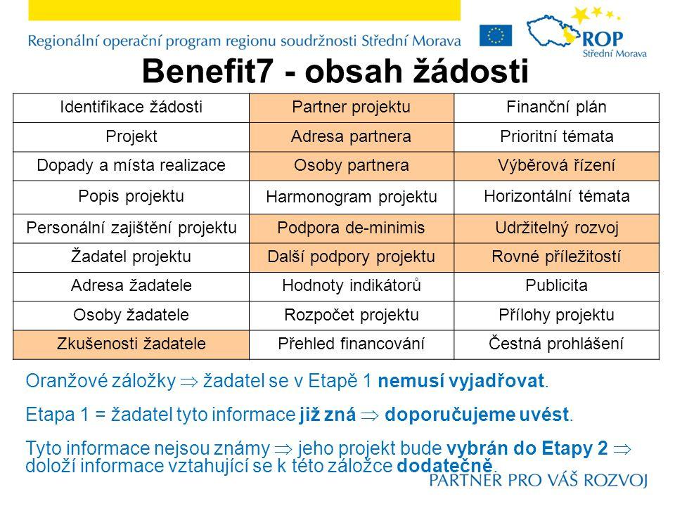 Benefit7 - obsah žádosti Identifikace žádostiPartner projektuFinanční plán ProjektAdresa partneraPrioritní témata Dopady a místa realizaceOsoby partne
