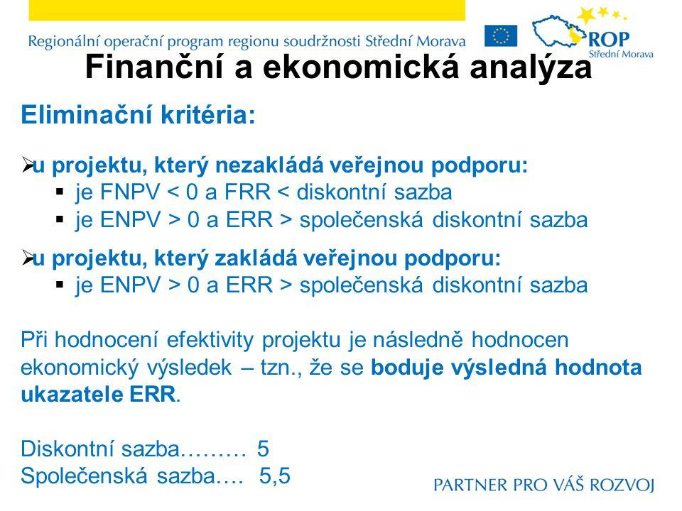 Finanční a ekonomická analýza Eliminační kritéria:  u projektu, který nezakládá veřejnou podporu:  je FNPV < 0 a FRR < diskontní sazba  je ENPV > 0 a ERR > společenská diskontní sazba  u projektu, který zakládá veřejnou podporu:  je ENPV > 0 a ERR > společenská diskontní sazba Při hodnocení efektivity projektu je následně hodnocen ekonomický výsledek – tzn., že se boduje výsledná hodnota ukazatele ERR.