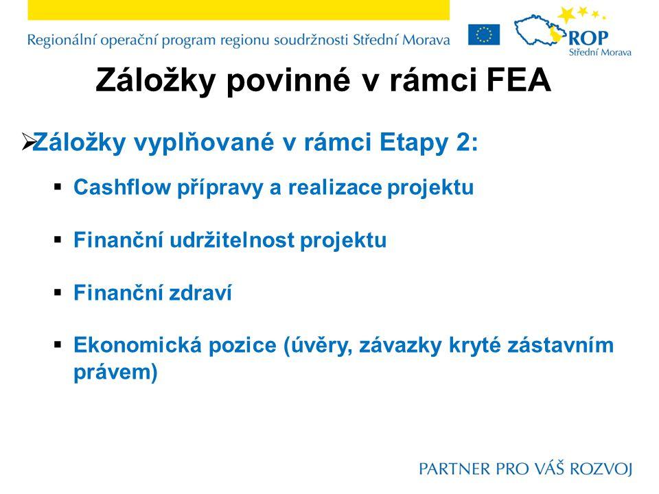 Záložky povinné v rámci FEA  Záložky vyplňované v rámci Etapy 2:  Cashflow přípravy a realizace projektu  Finanční udržitelnost projektu  Finanční zdraví  Ekonomická pozice (úvěry, závazky kryté zástavním právem)