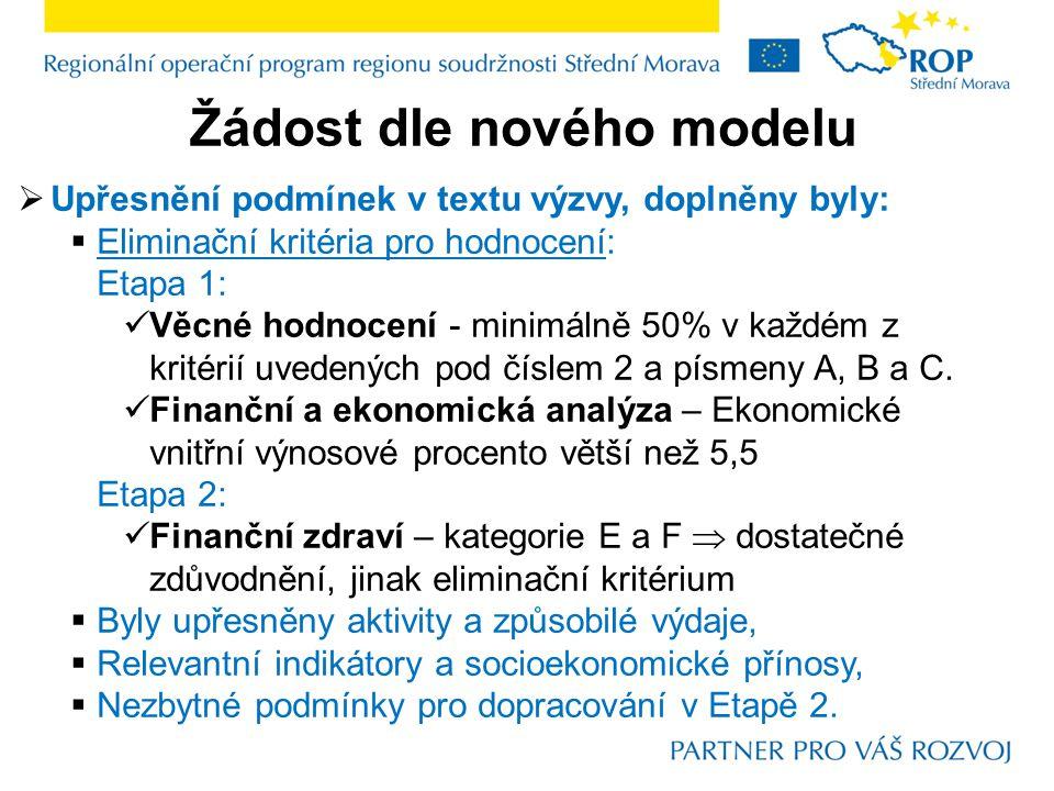 Žádost dle nového modelu  Upřesnění podmínek v textu výzvy, doplněny byly:  Eliminační kritéria pro hodnocení: Etapa 1: Věcné hodnocení - minimálně 50% v každém z kritérií uvedených pod číslem 2 a písmeny A, B a C.