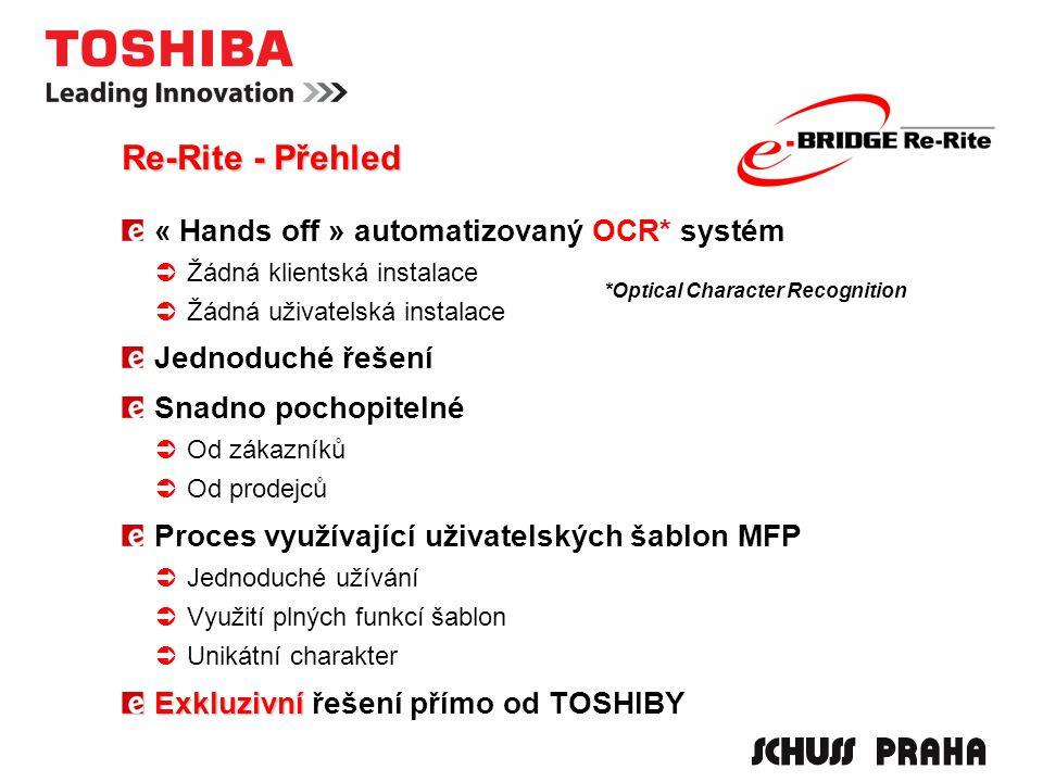 « Hands off » automatizovaný OCR* systém  Žádná klientská instalace  Žádná uživatelská instalace Jednoduché řešení Snadno pochopitelné  Od zákazníků  Od prodejců Proces využívající uživatelských šablon MFP  Jednoduché užívání  Využití plných funkcí šablon  Unikátní charakter Exkluzivní Exkluzivní řešení přímo od TOSHIBY *Optical Character Recognition Re-Rite - Přehled