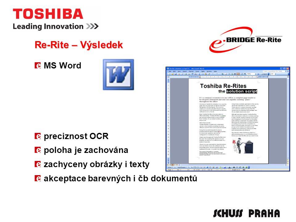 MS Word preciznost OCR poloha je zachována zachyceny obrázky i texty akceptace barevných i čb dokumentů Re-Rite – Výsledek