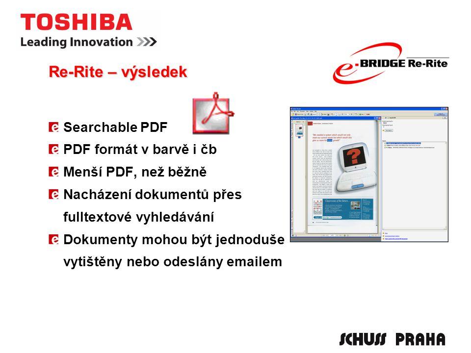 Searchable PDF PDF formát v barvě i čb Menší PDF, než běžně Nacházení dokumentů přes fulltextové vyhledávání Dokumenty mohou být jednoduše vytištěny nebo odeslány emailem Re-Rite – výsledek